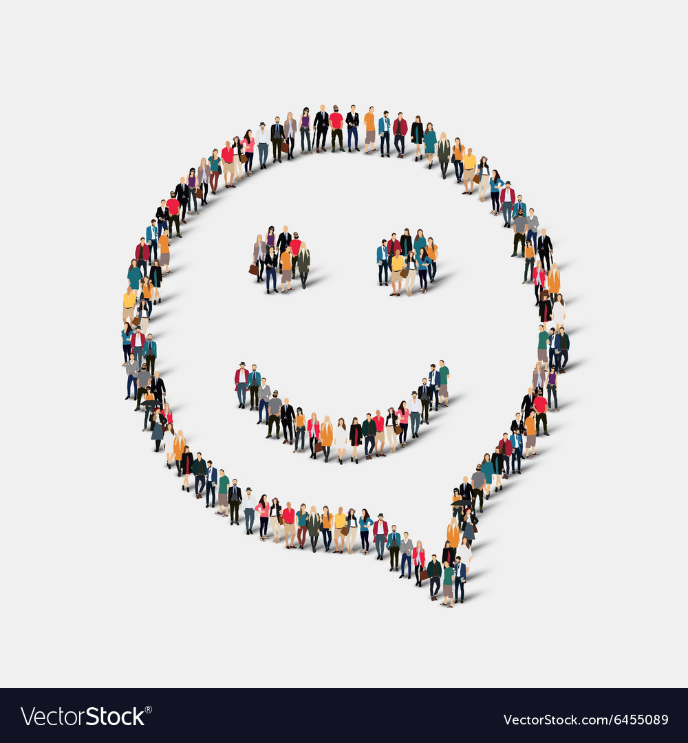 Group people shape chat bubbles smile vector image