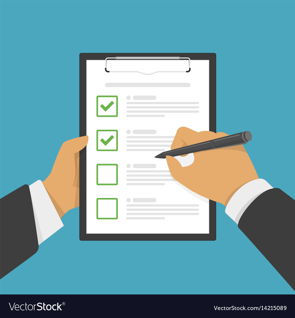 Hand filing checklist on clipboard vector image