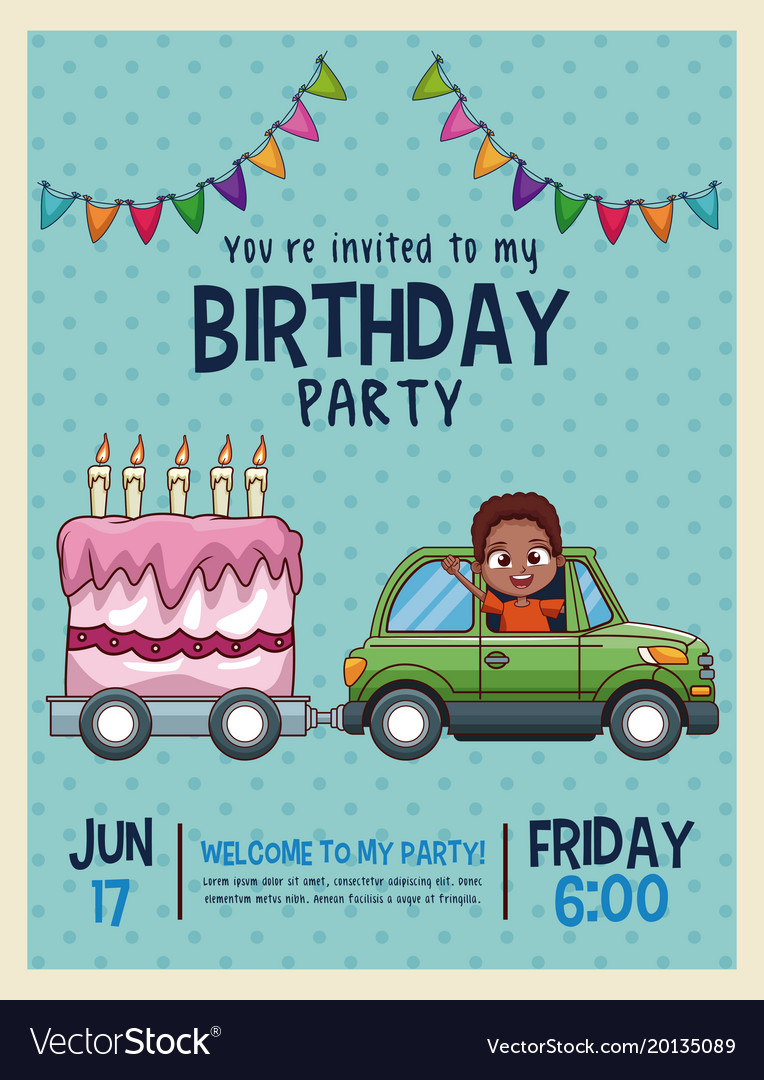 Kids birthday invitation card royalty free vector image kids birthday invitation card vector image stopboris Images