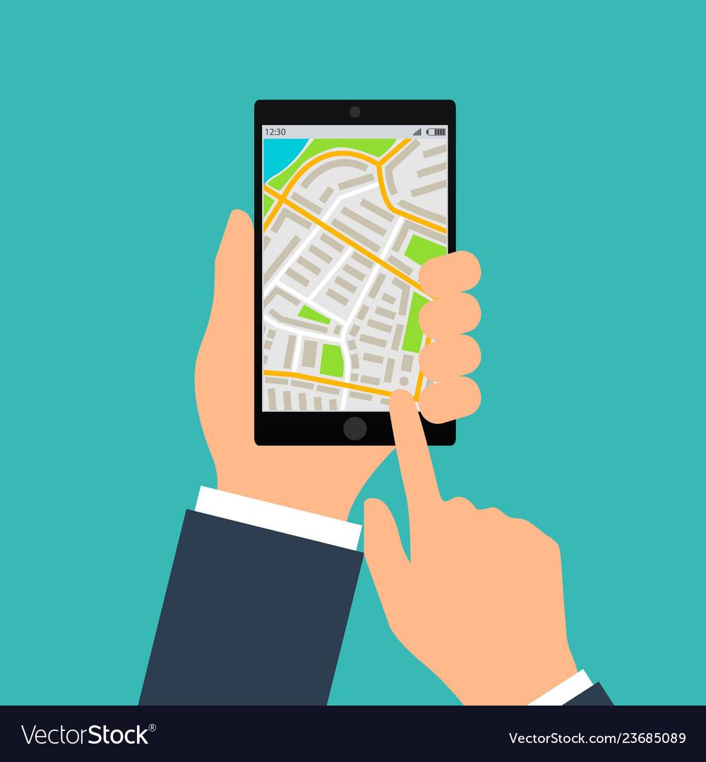 Mobile gps navigation on mobile phone hand holds