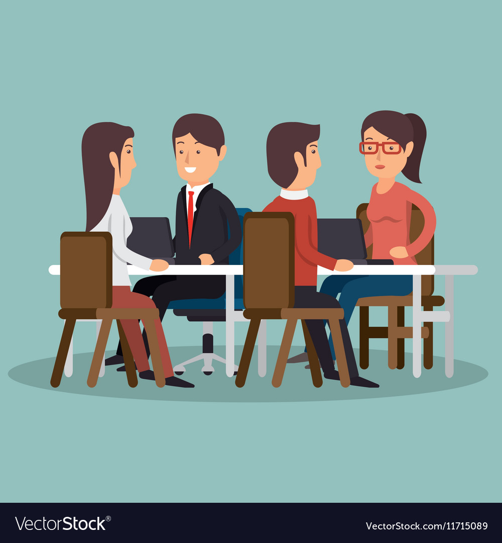Office teamwork meeting business characters