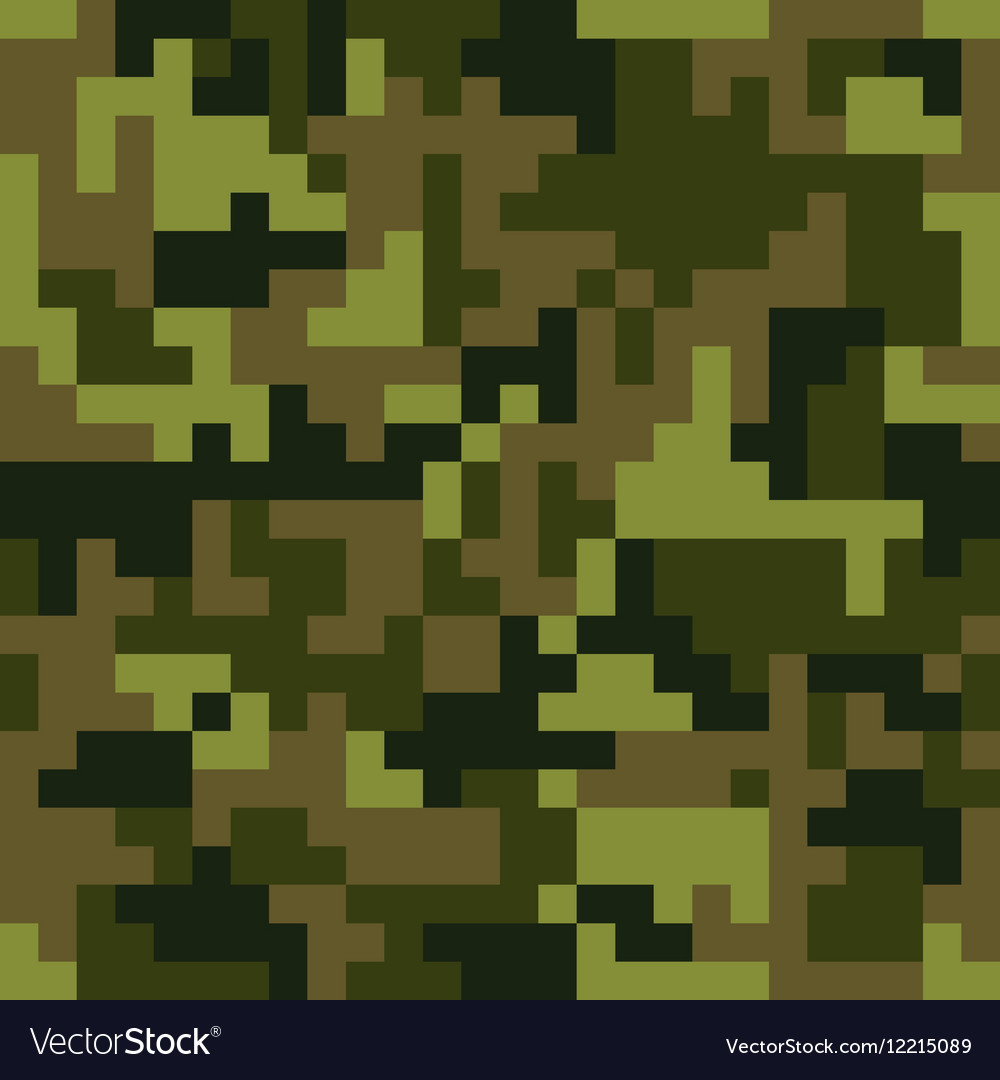 Pixel camo seamless pattern Green forest