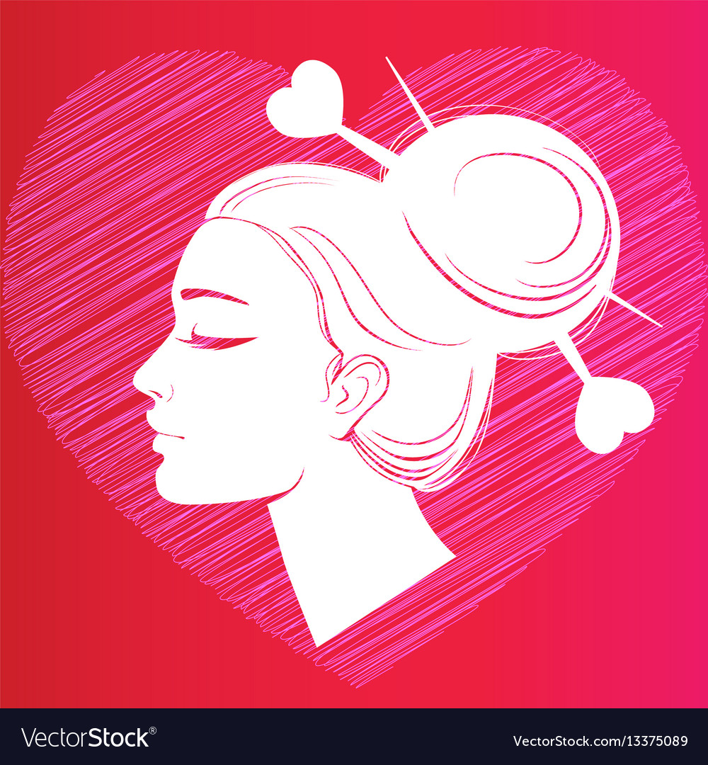 Profile silhouette of a girl with hair on the