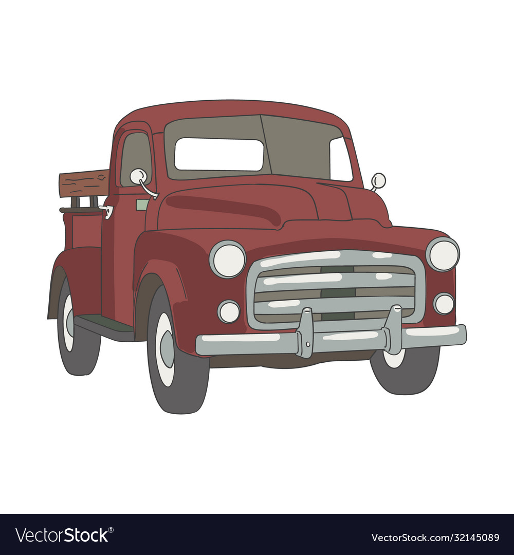 Red classic car clipping art good for cutting