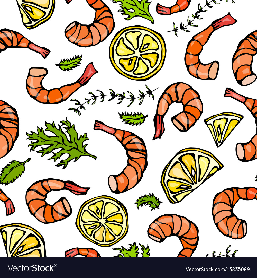 Seafood seamless pattern shrimp or prawn herbs