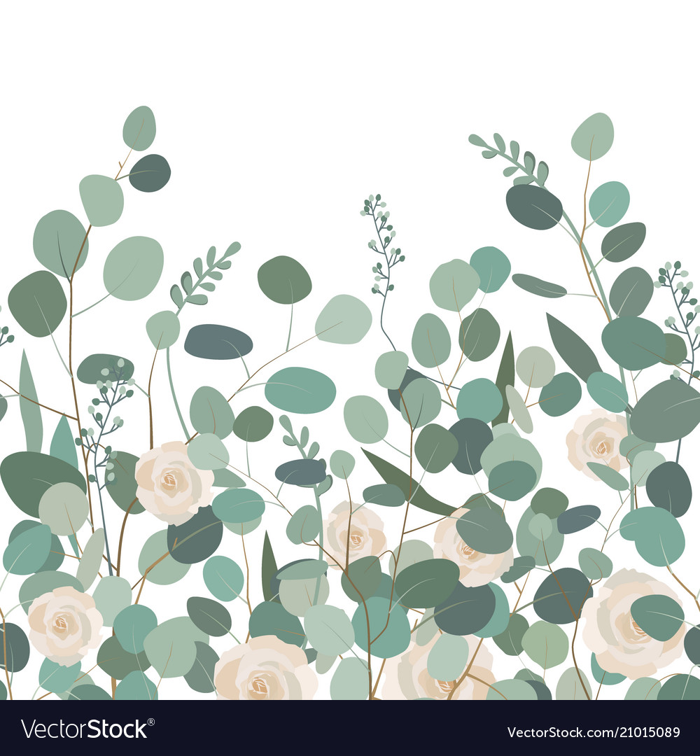Seamless pattern with eucalyptus branches and