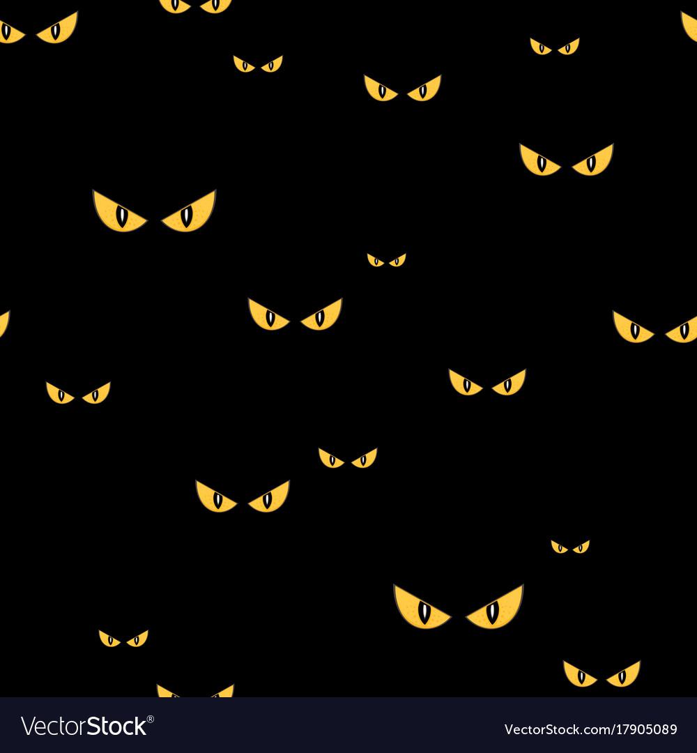 Spooky Monster Eyes In The Dark Halloween Seamless