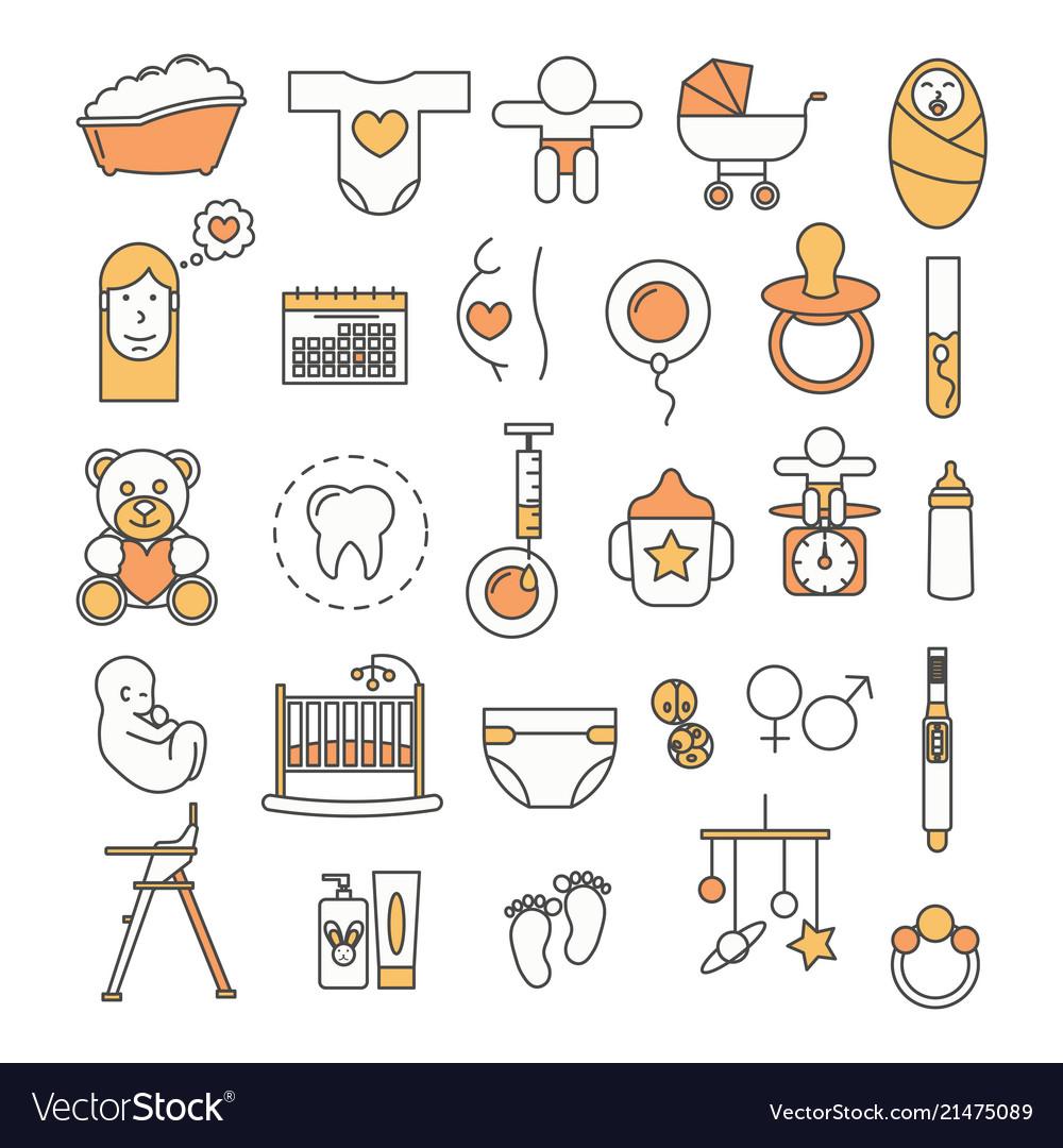 Thin line art style design baby icon set