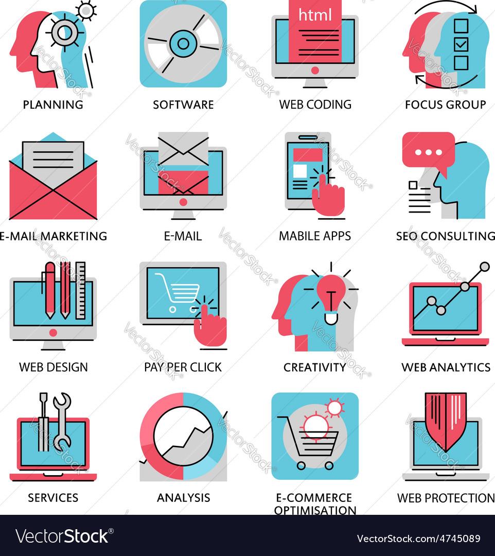 Thin line icons of media marketing advertising