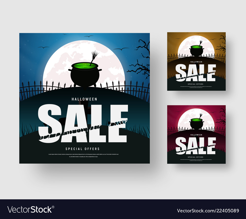 Web banner template for a halloween sale with a