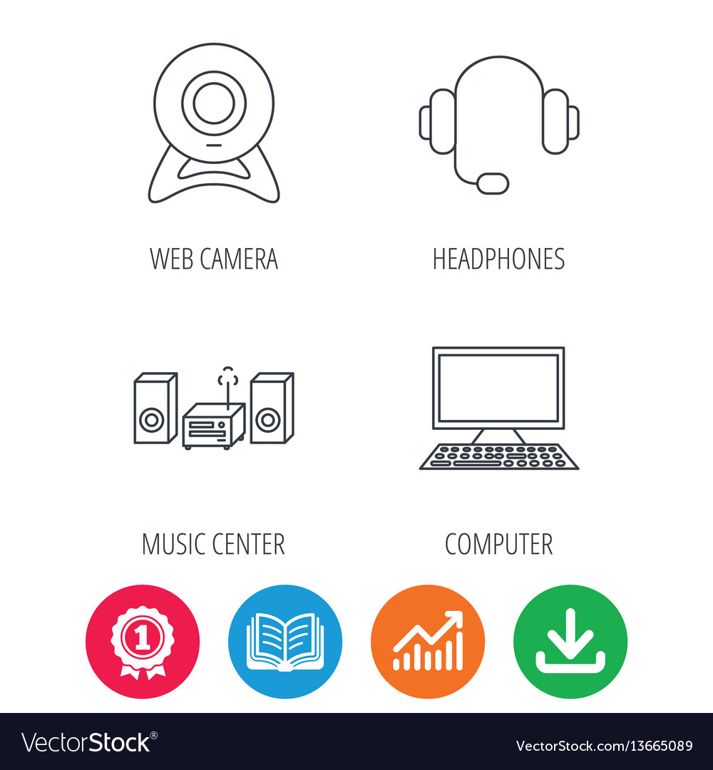 Web camera headphones and computer icons