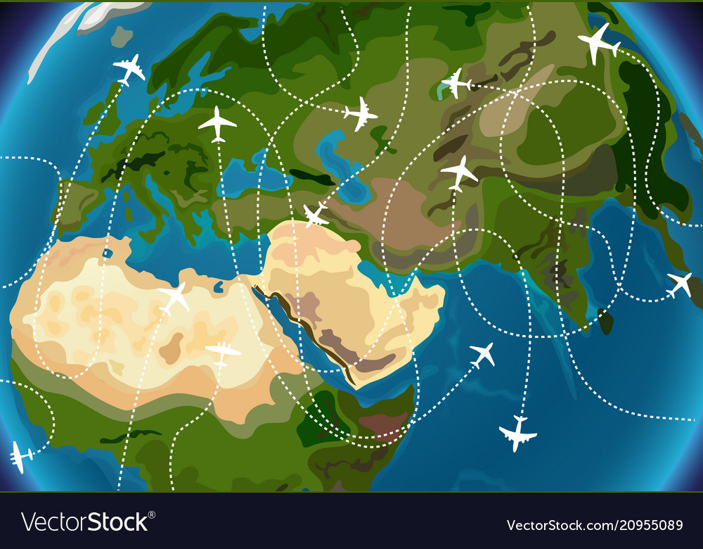 World map with aircraft paths