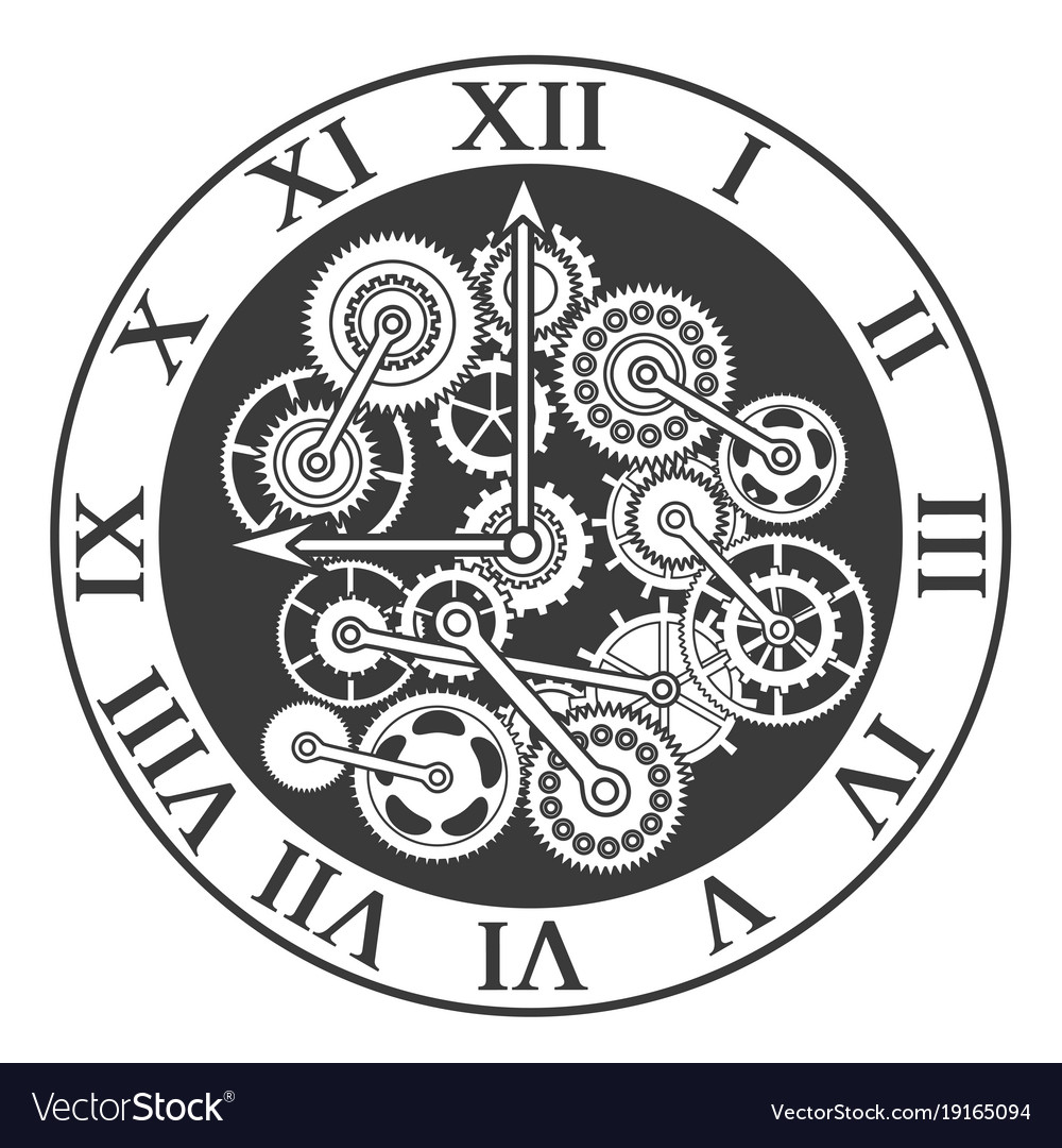 Cartoon Silhouette Black Clock Mechanism Vector Image