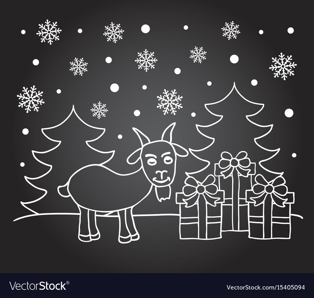 Chalkboard New Year Card With Goat Royalty Free Vector Image