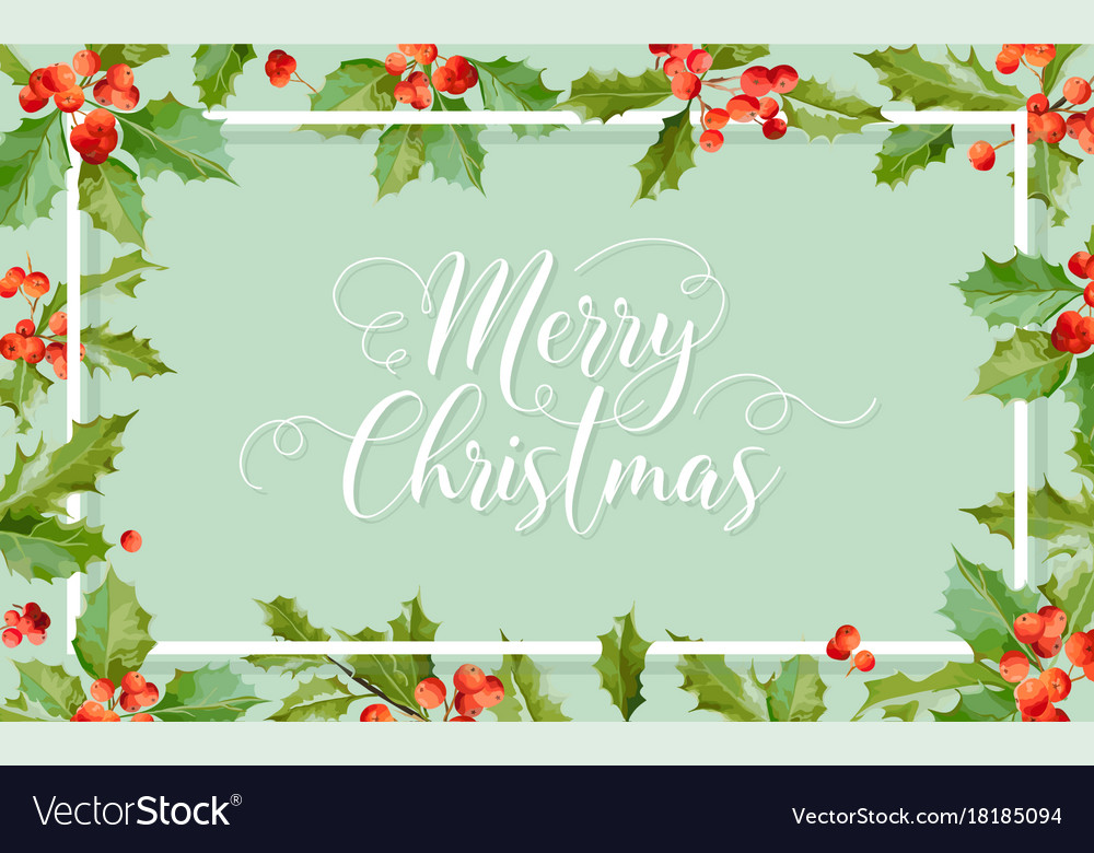Christmas winter holly berry banner graphic