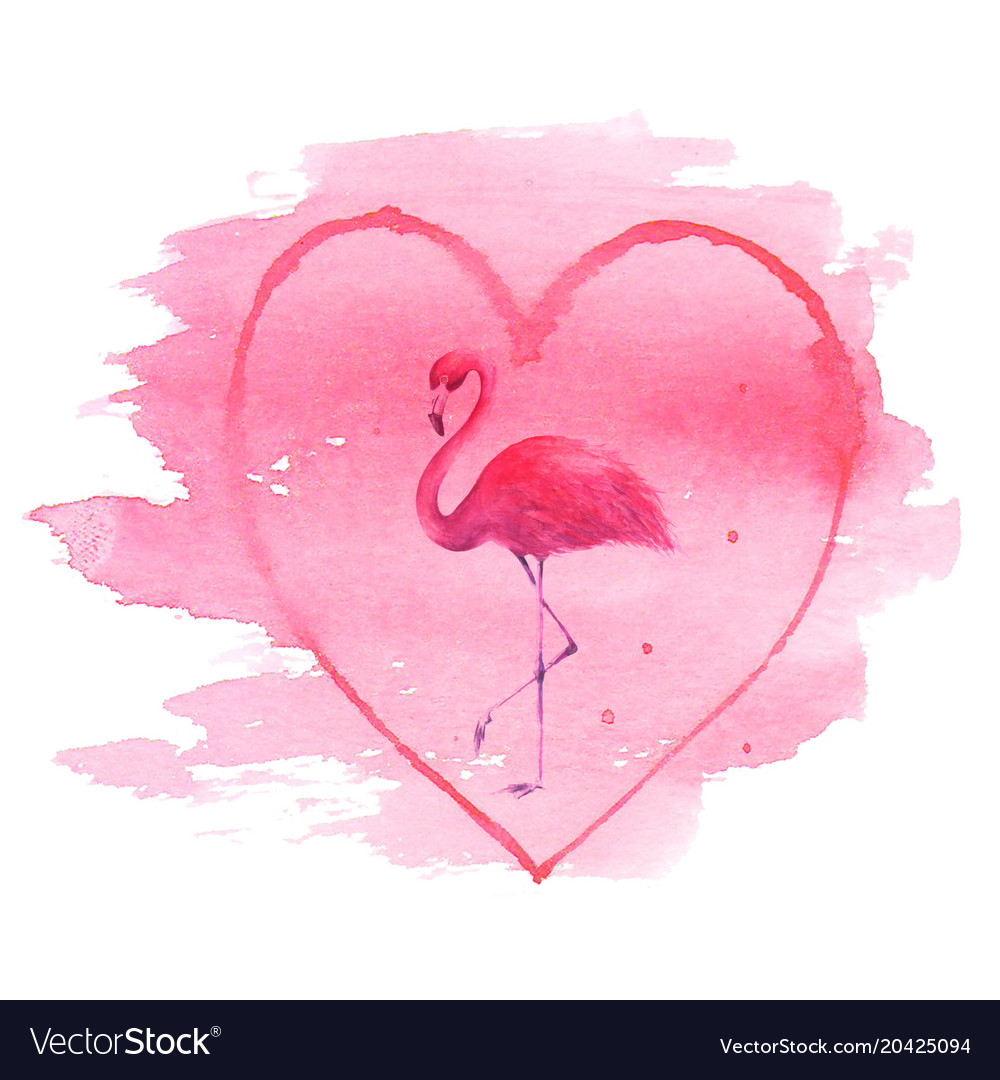Flamingo in pink heart isolated on white