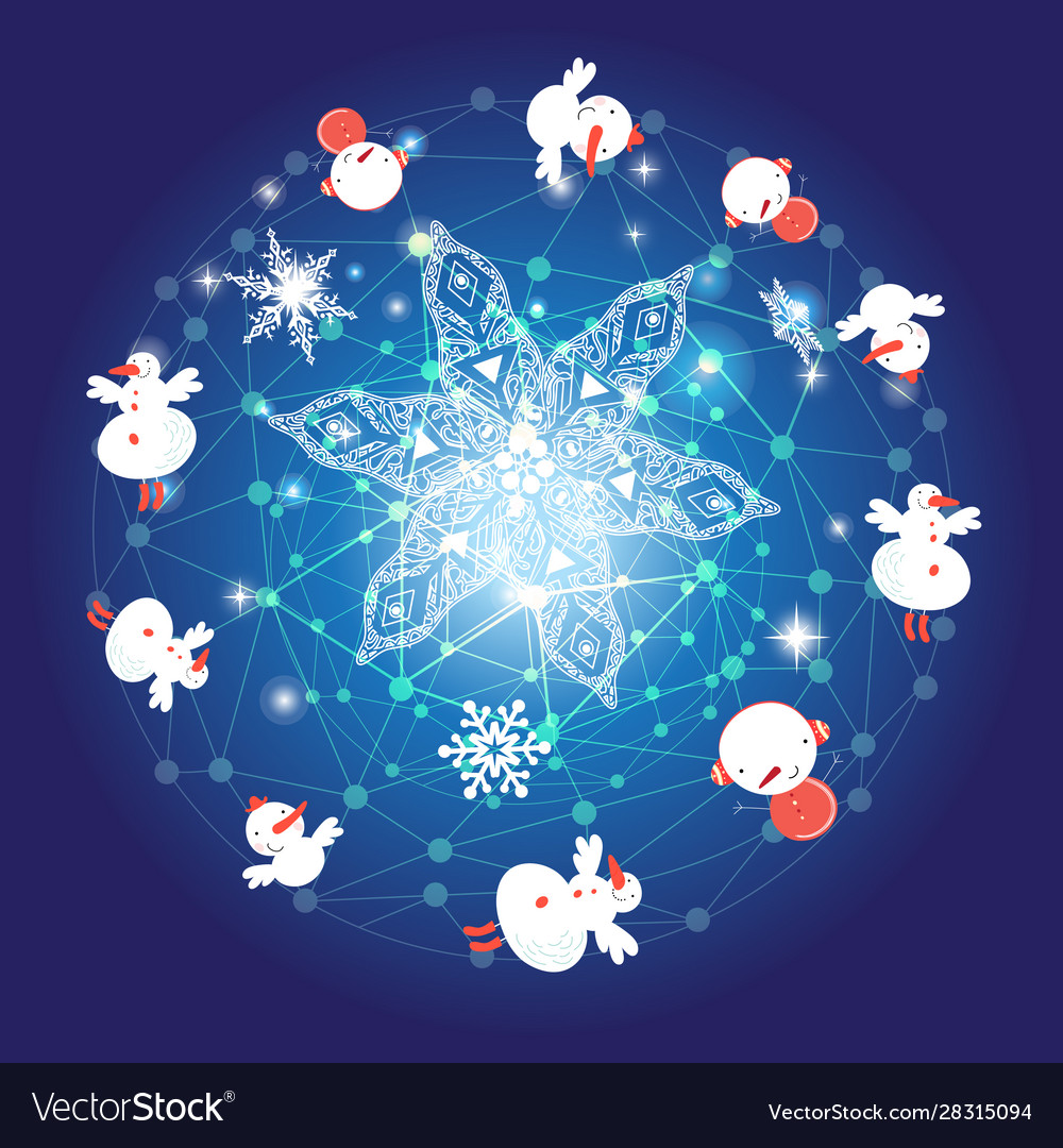 Graphic funny poster with snowflakes and snowmen
