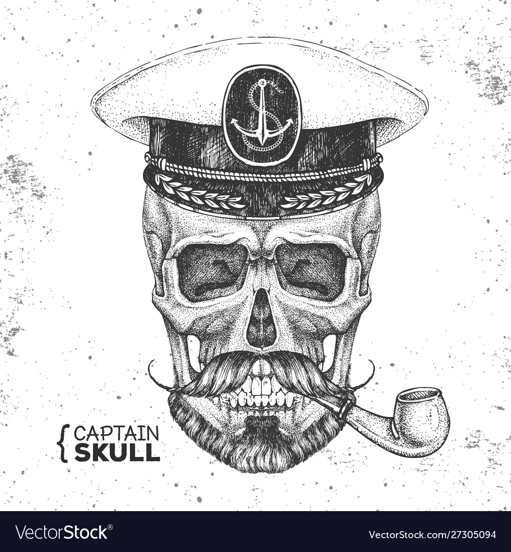 Hand drawing hipster skull with captains cap