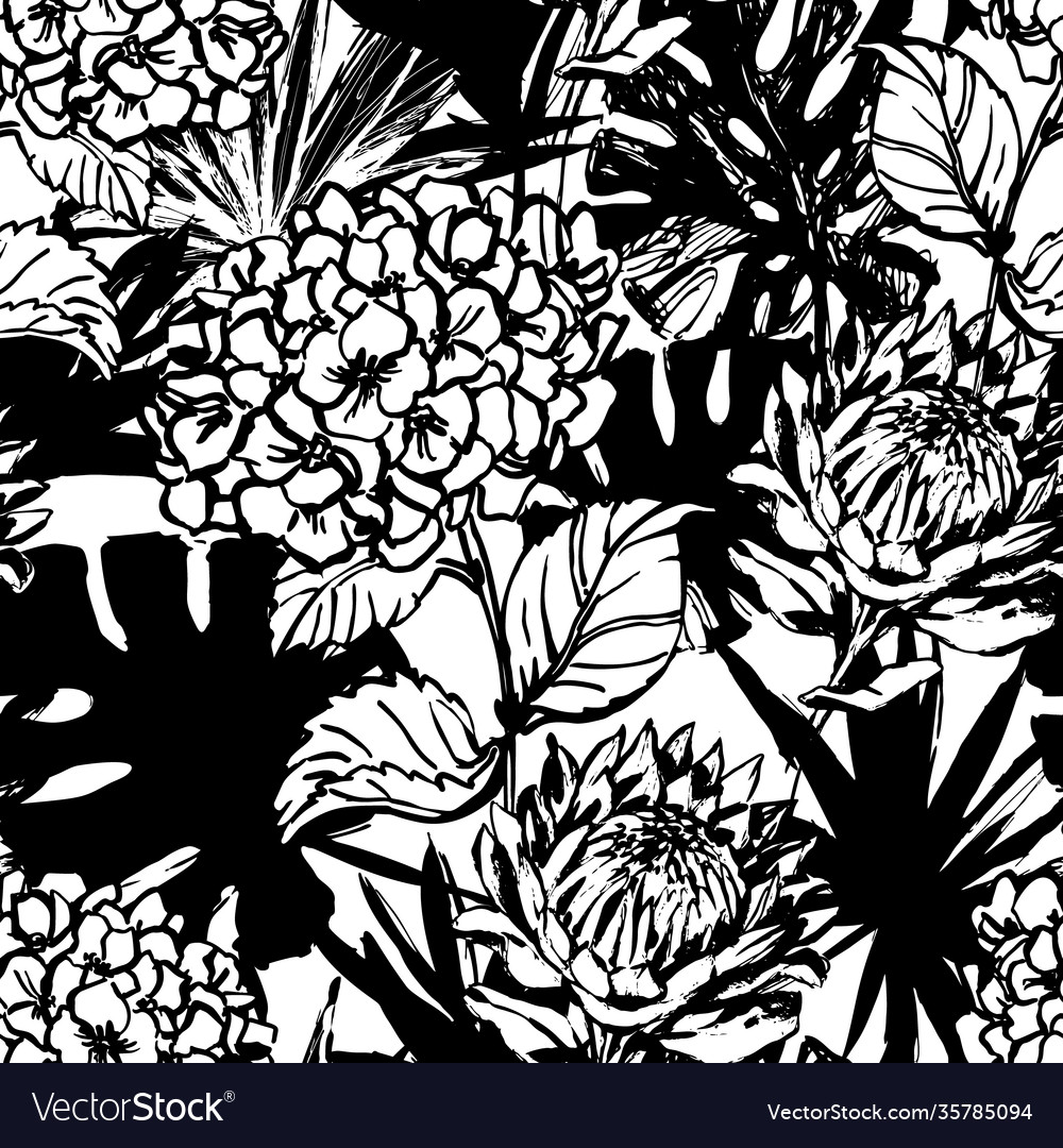 Hand drawn tropical summer background hydrangea