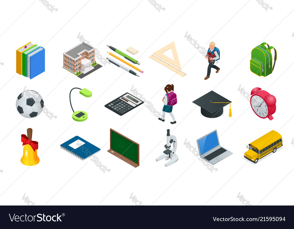 Isometric education icons set back to school vector