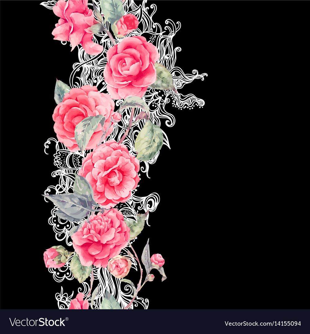 Lace And Camellia Flowers Seamless Border Vector Image