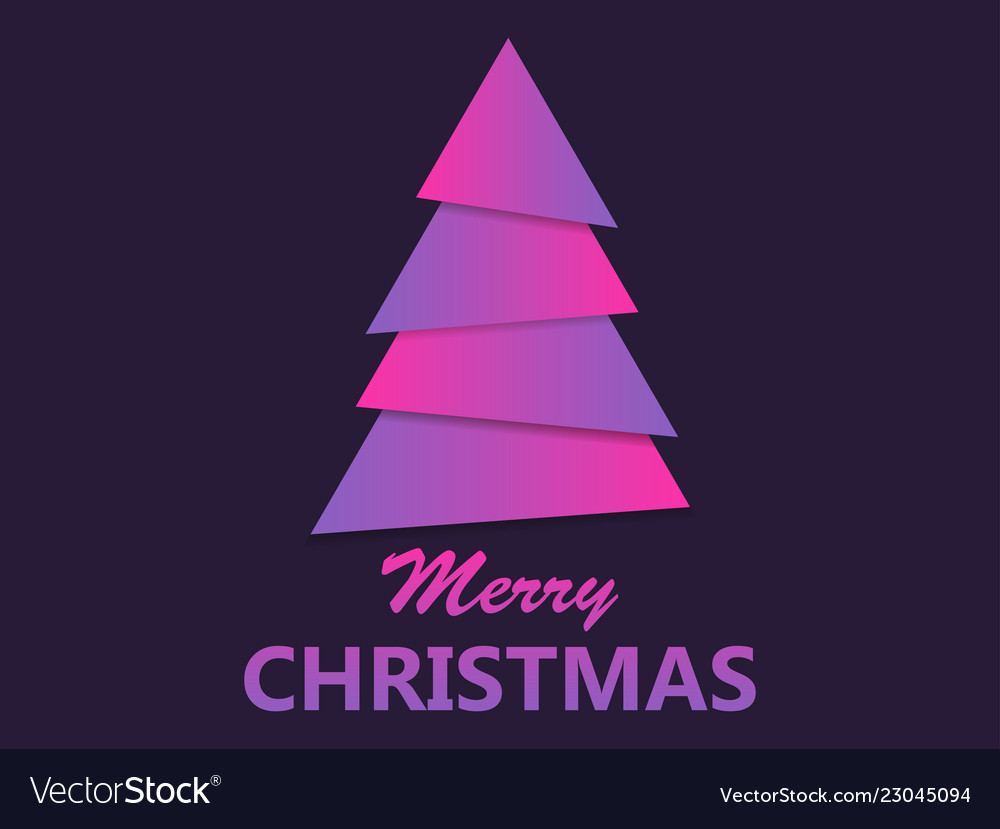 Merry christmas paper christmas tree purple