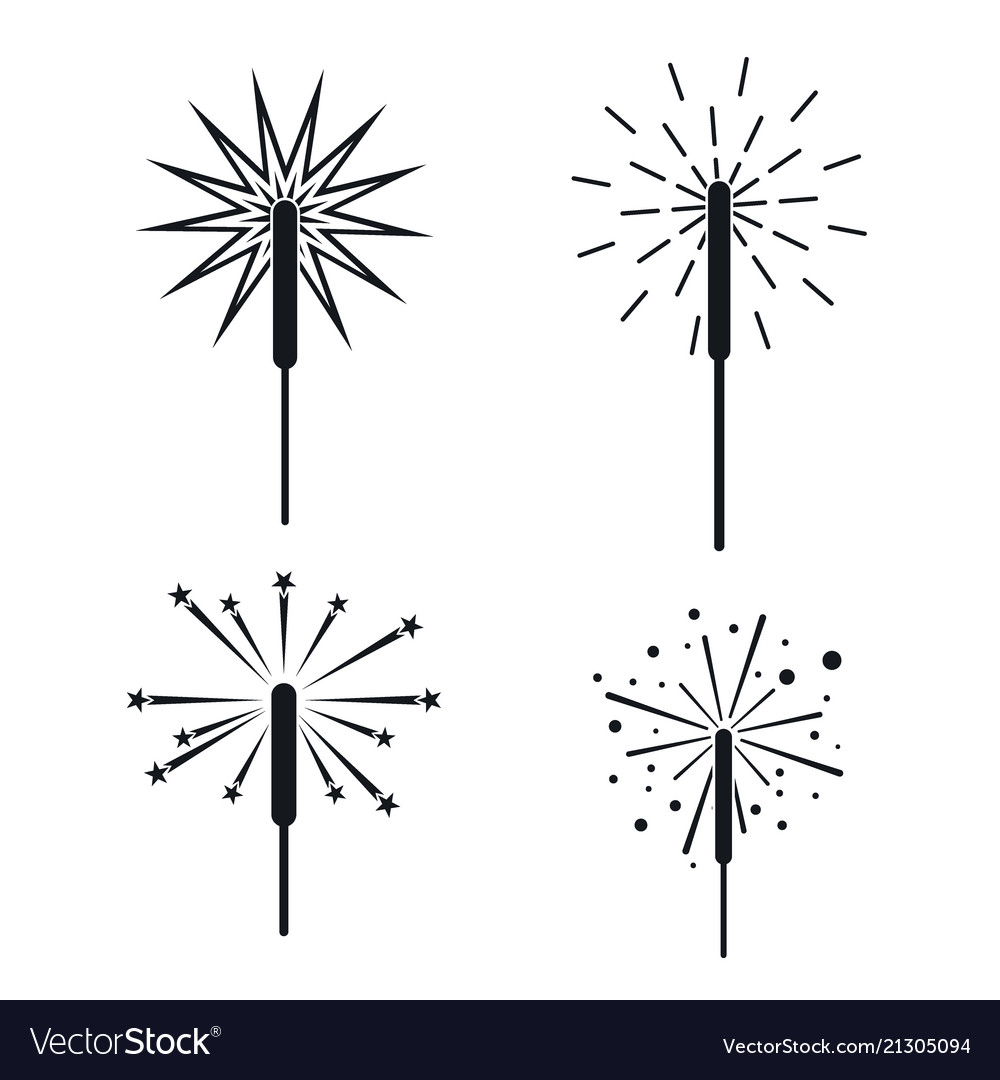 Sparkler fireworks bonfire icons set simple style