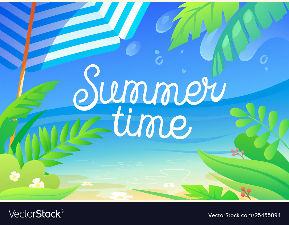 Summer time colorful banner with tropical plants