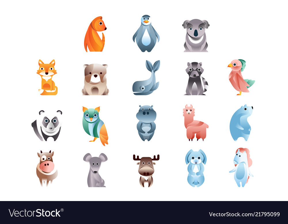 Animals in a geometric flat style with the use of