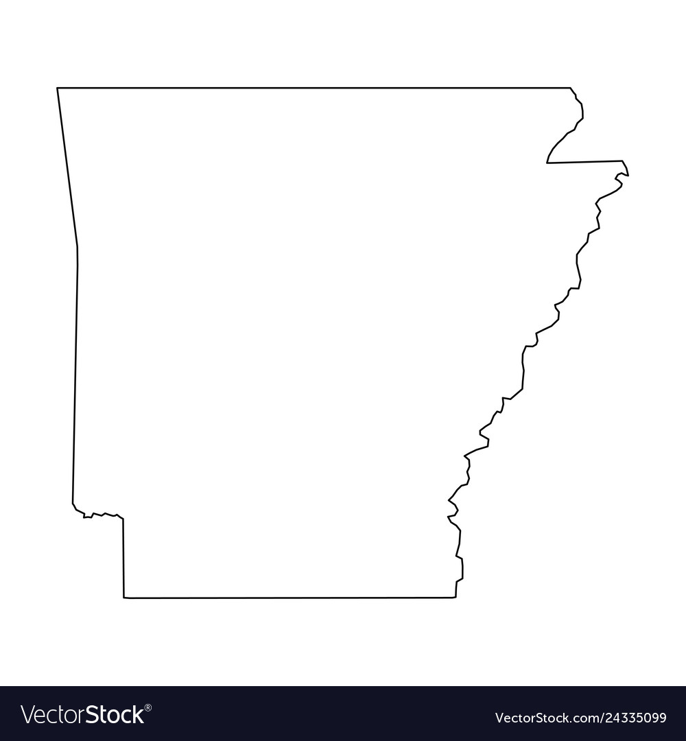 Arkansas State Of Usa Solid Black Outline Map