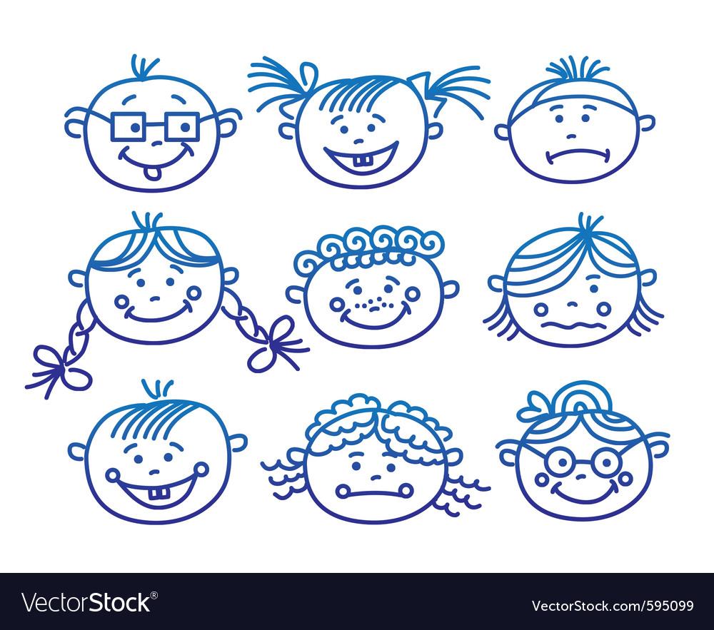 baby cartoon faces royalty free vector image vectorstock