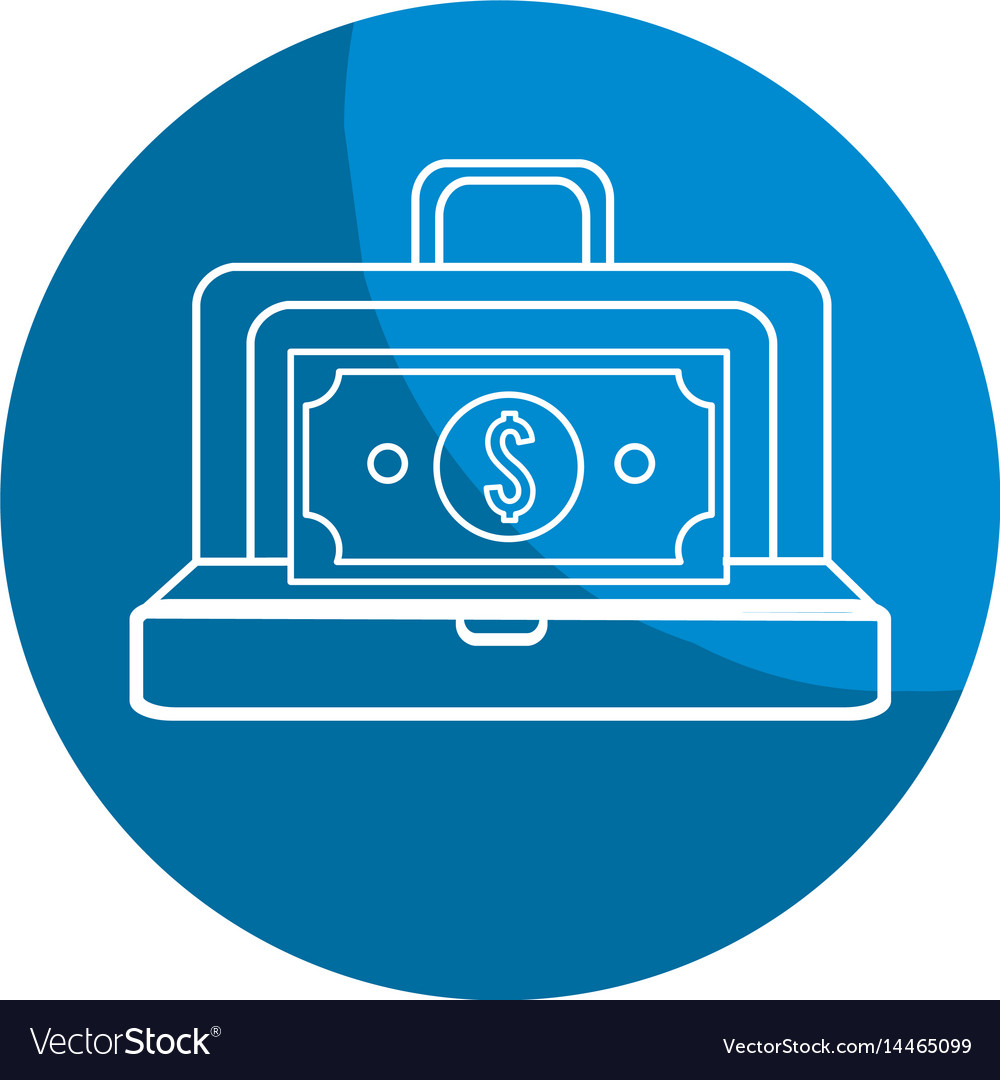 Emblem suitcase with bill money inside vector image