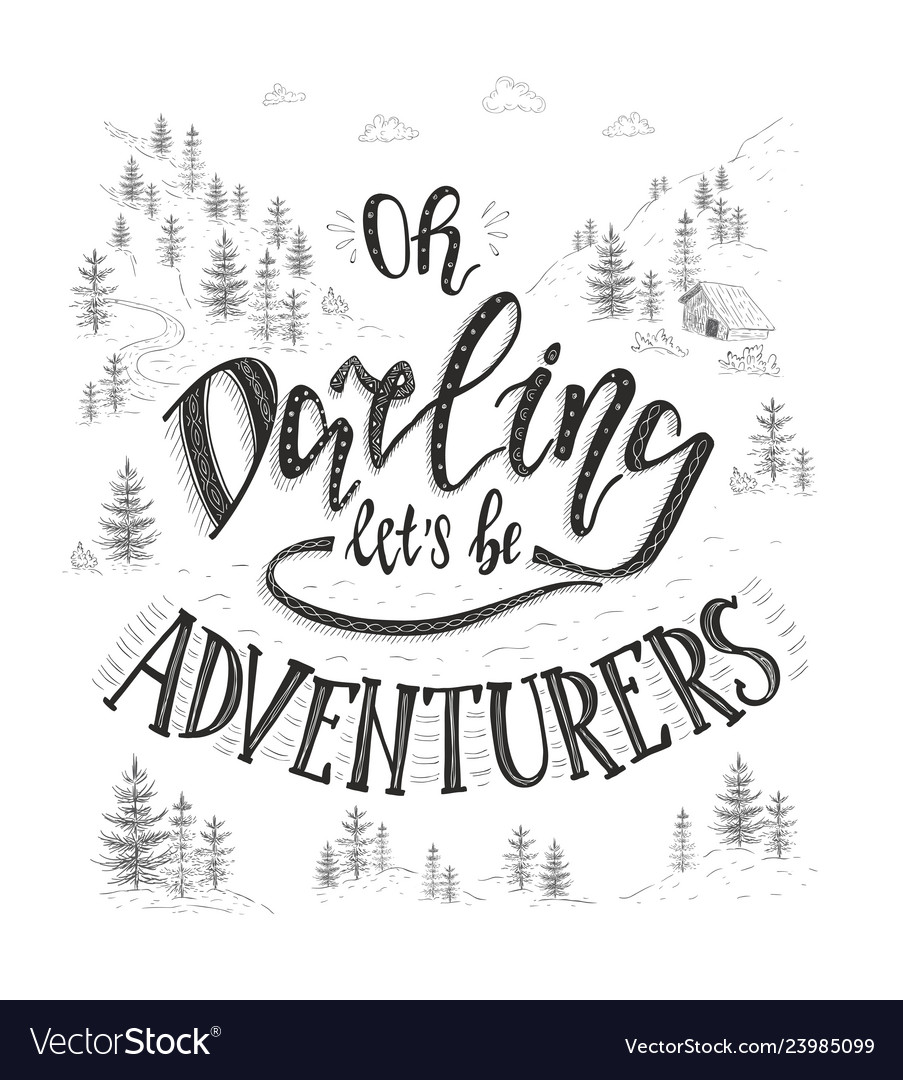 Hand-lettering quote of travel motivation