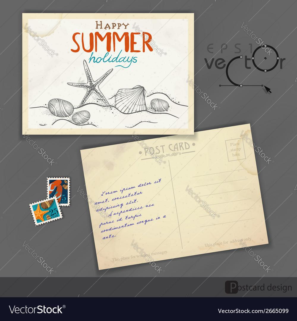 Old postcard design template royalty free vector image old postcard design template vector image maxwellsz