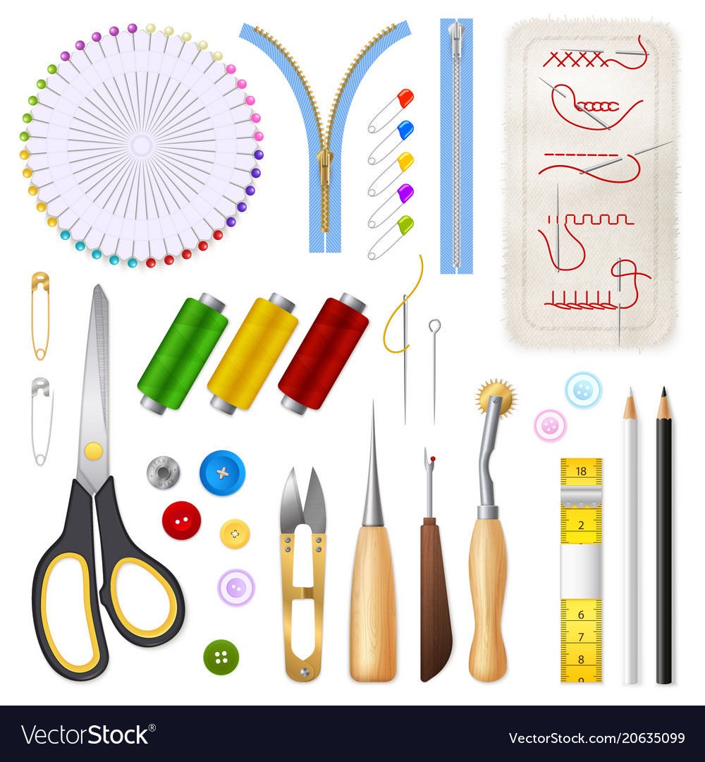 Sewing isolated icons set vector image