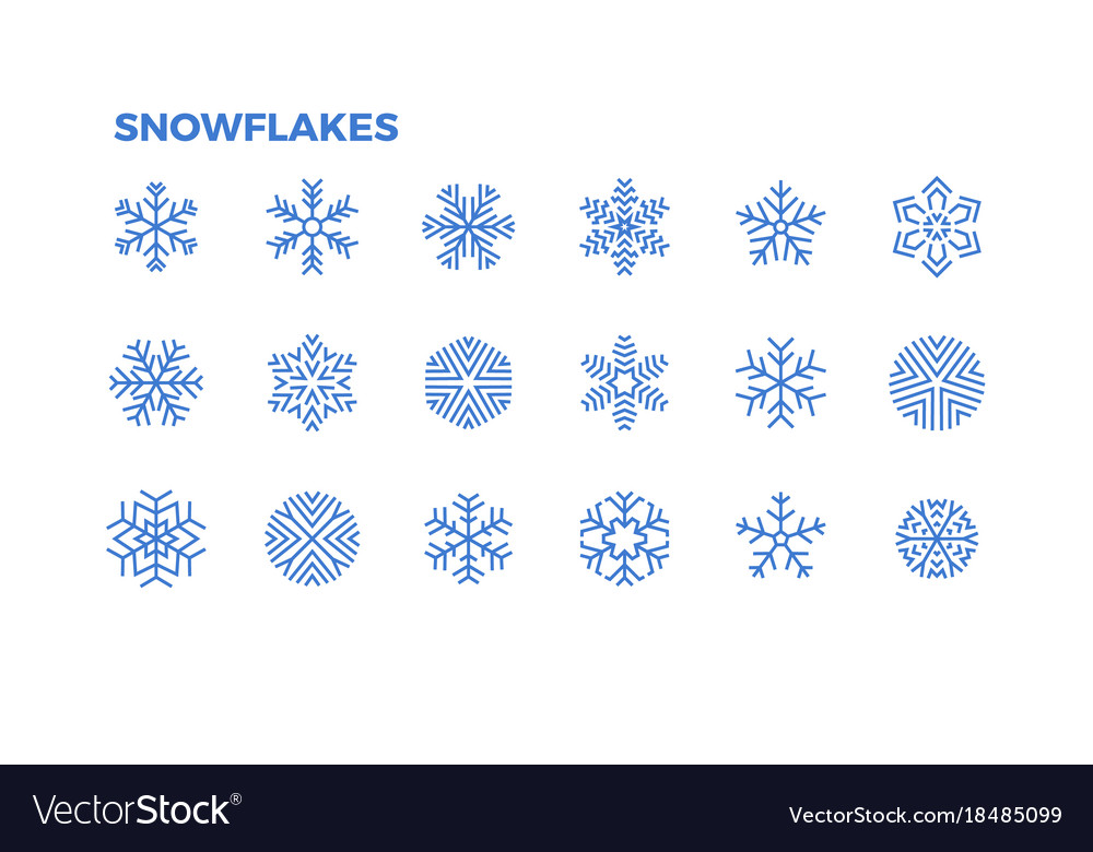 Snowflake icons crystals of snow for the