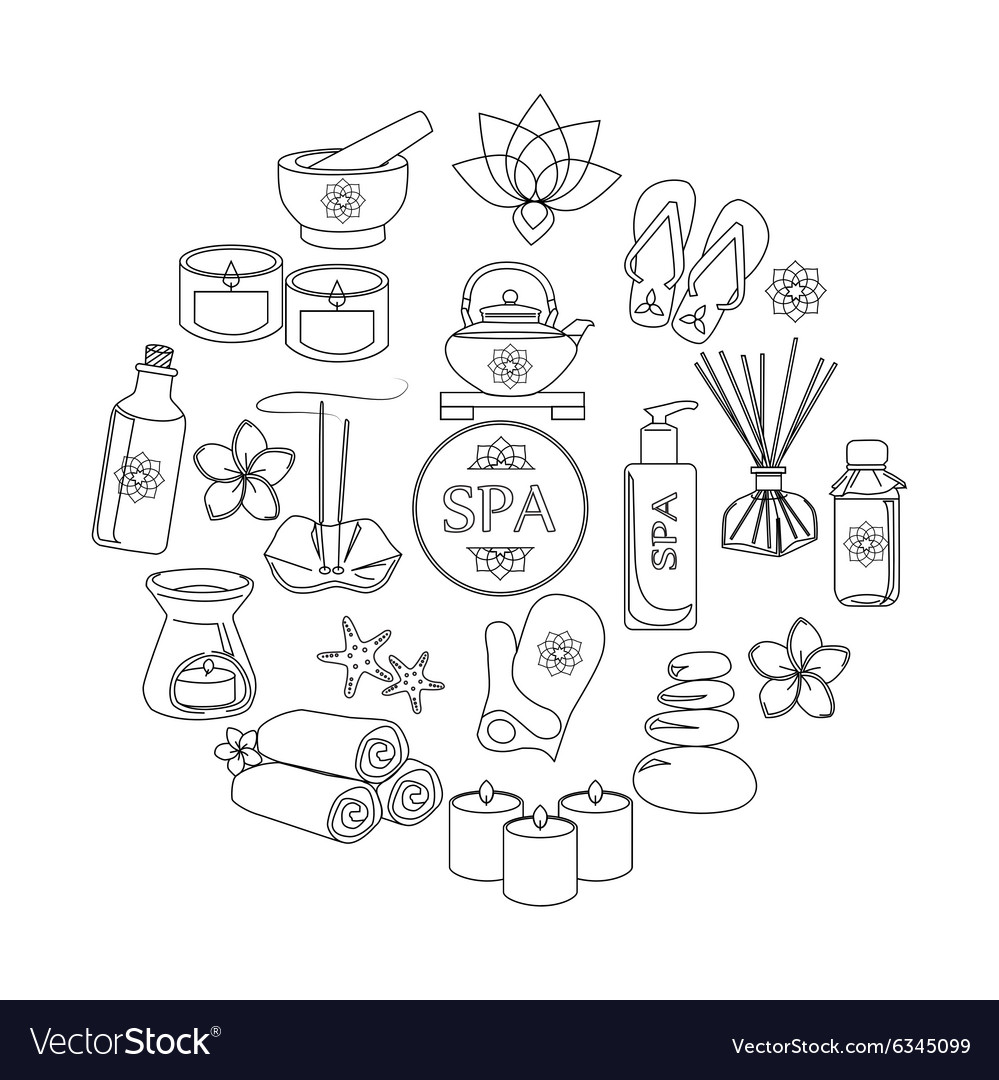 Spa and healthcare outline icons set