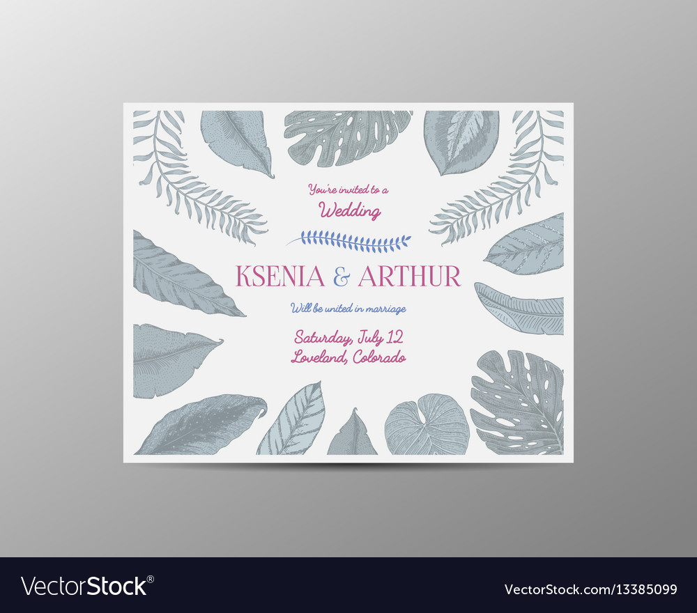 Wedding invitation card vintage engraved template