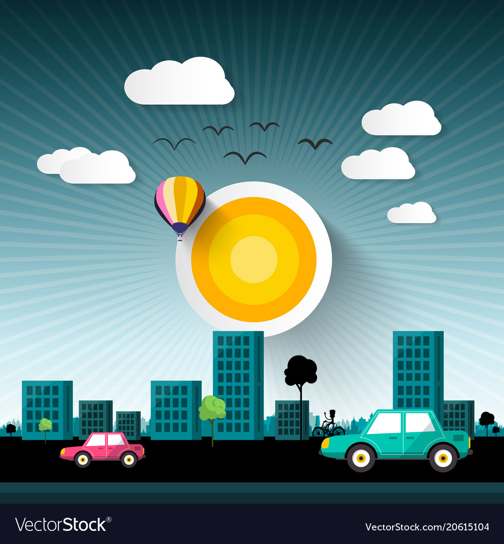 Abstract sunset city with buildings and cars on