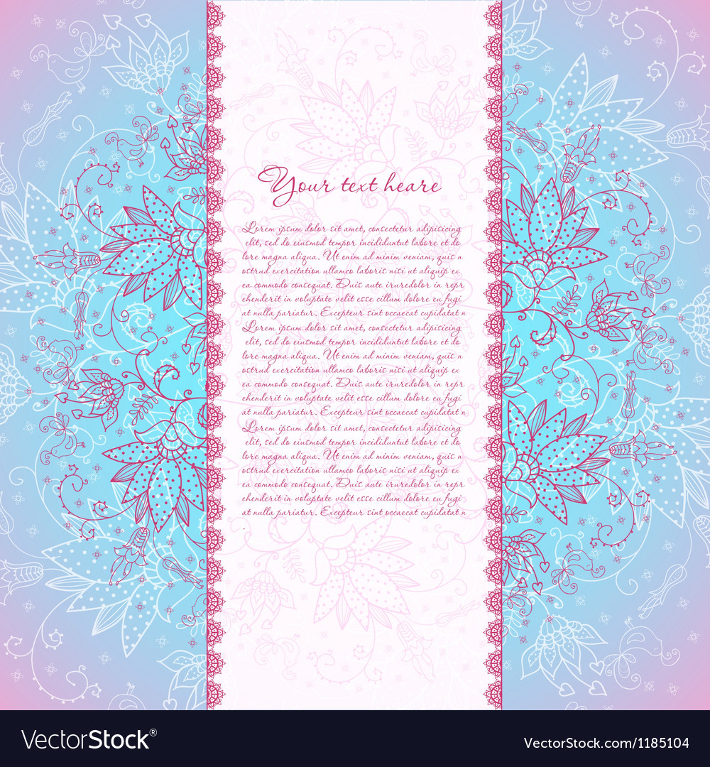 Blue background with rose flower for text