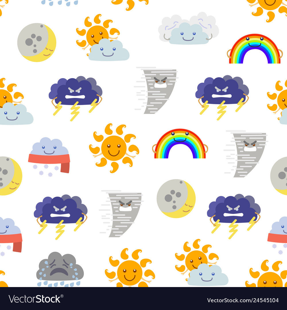 Cartoon characters weather forecast seamless
