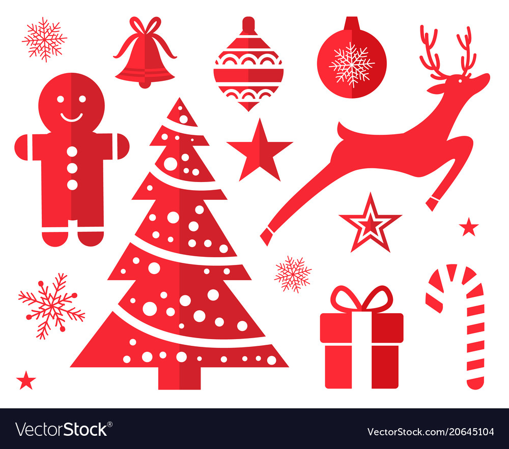 Red Christmas Tree.Christmas Symbols And Decorations Drawn In Red