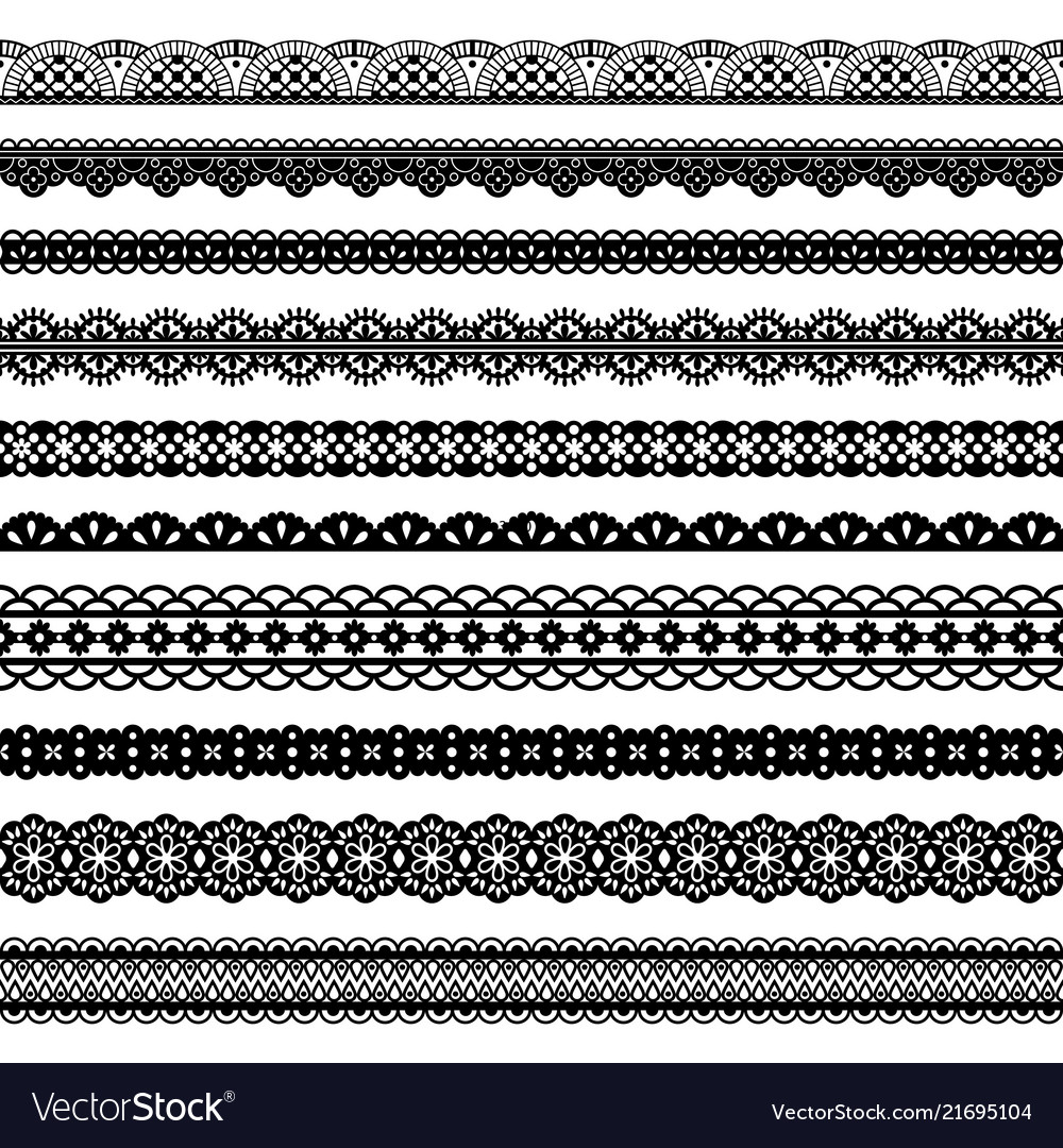 Collection horizontal laces black seamless borders
