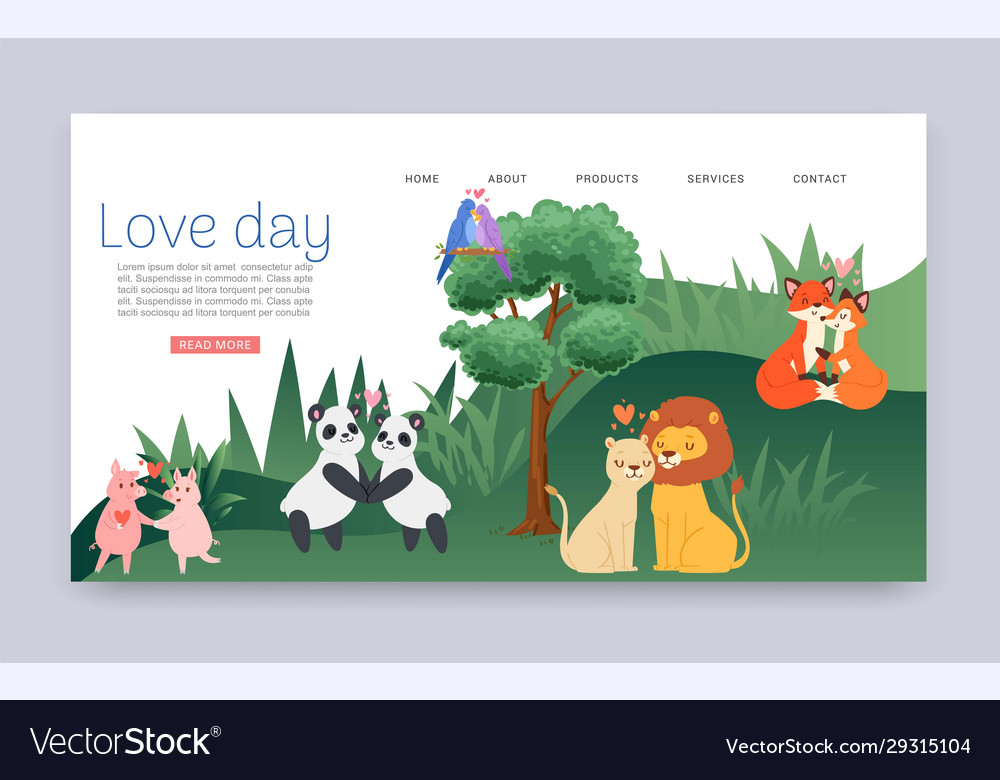 Couples in love cartoon animal lovers characters