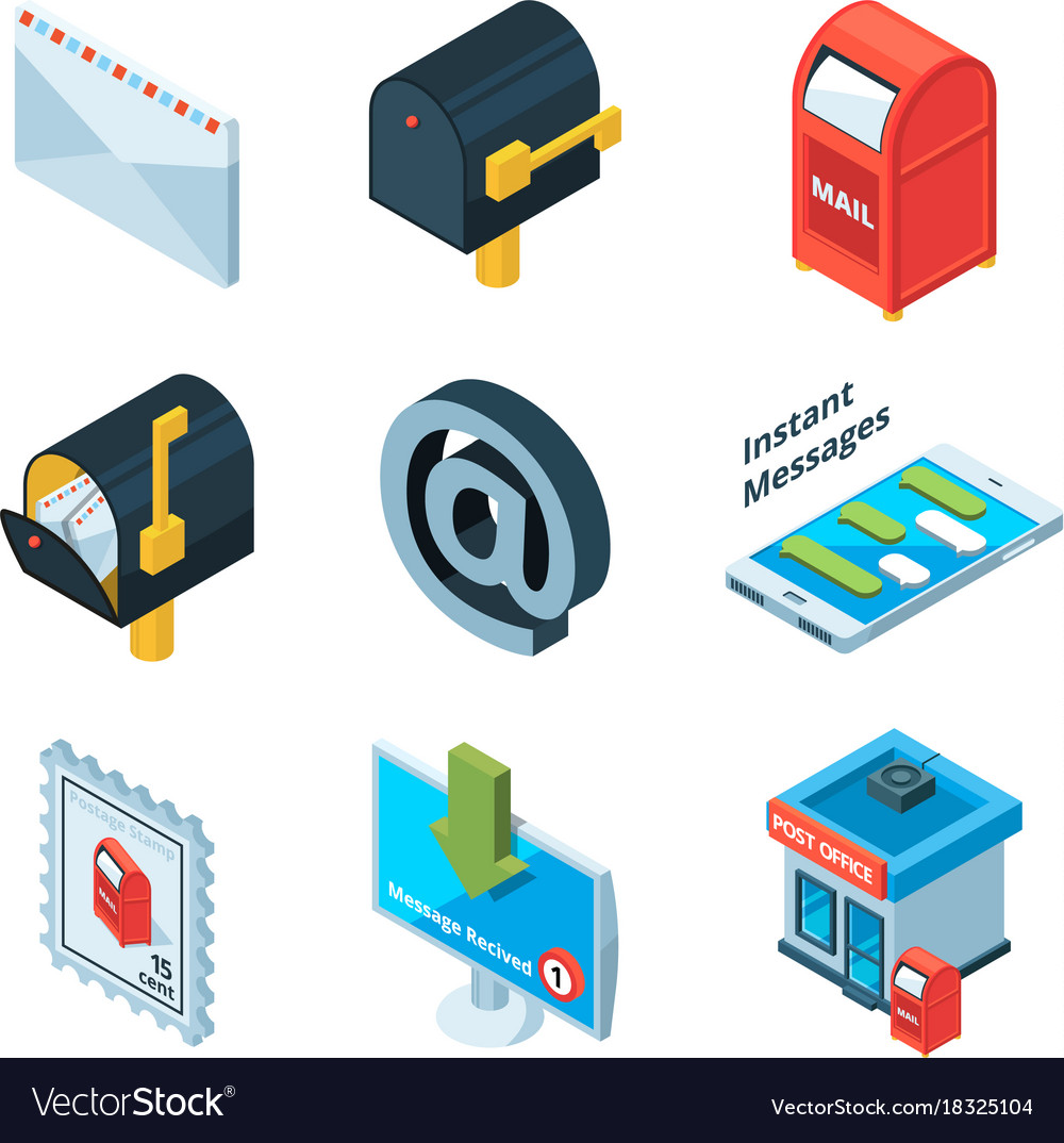 Diffrent postal symbols isometric pictures of