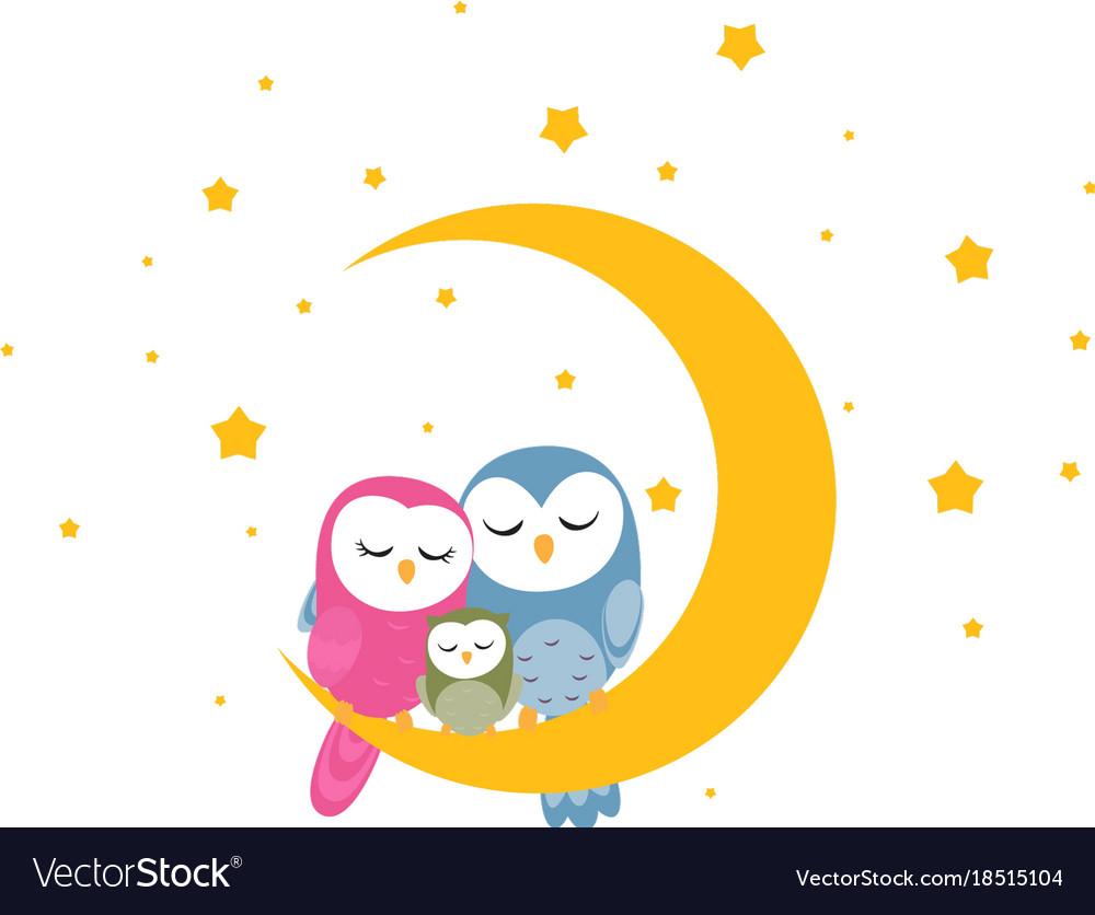 Owl family sleep on the moon background