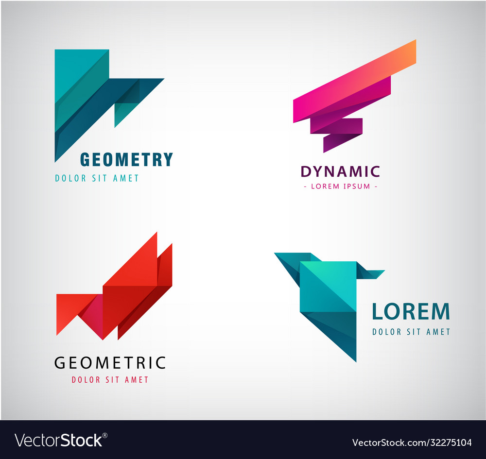 Set abstract origami logos triangles