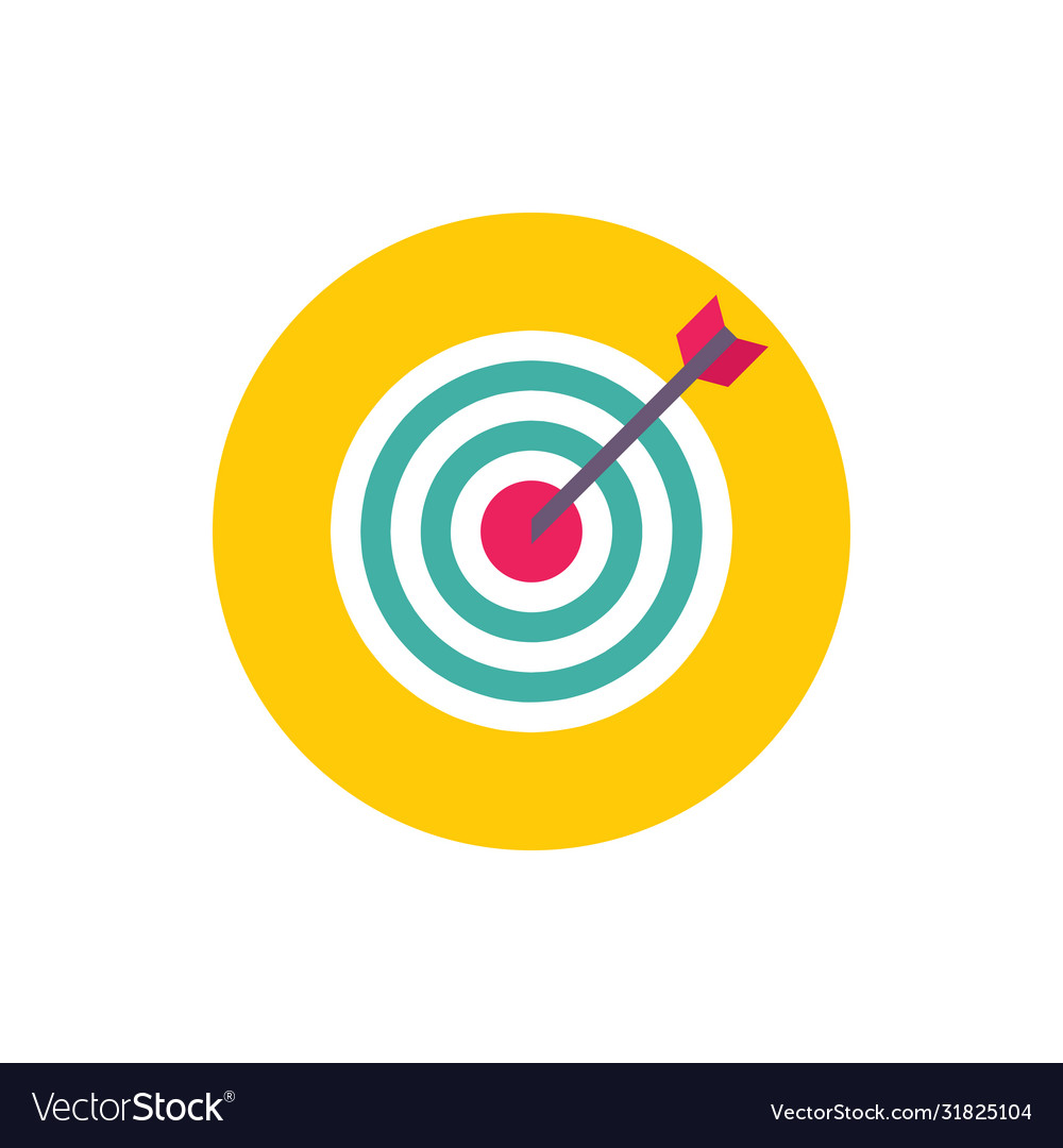 Target with arrow - concept colored icon in flat
