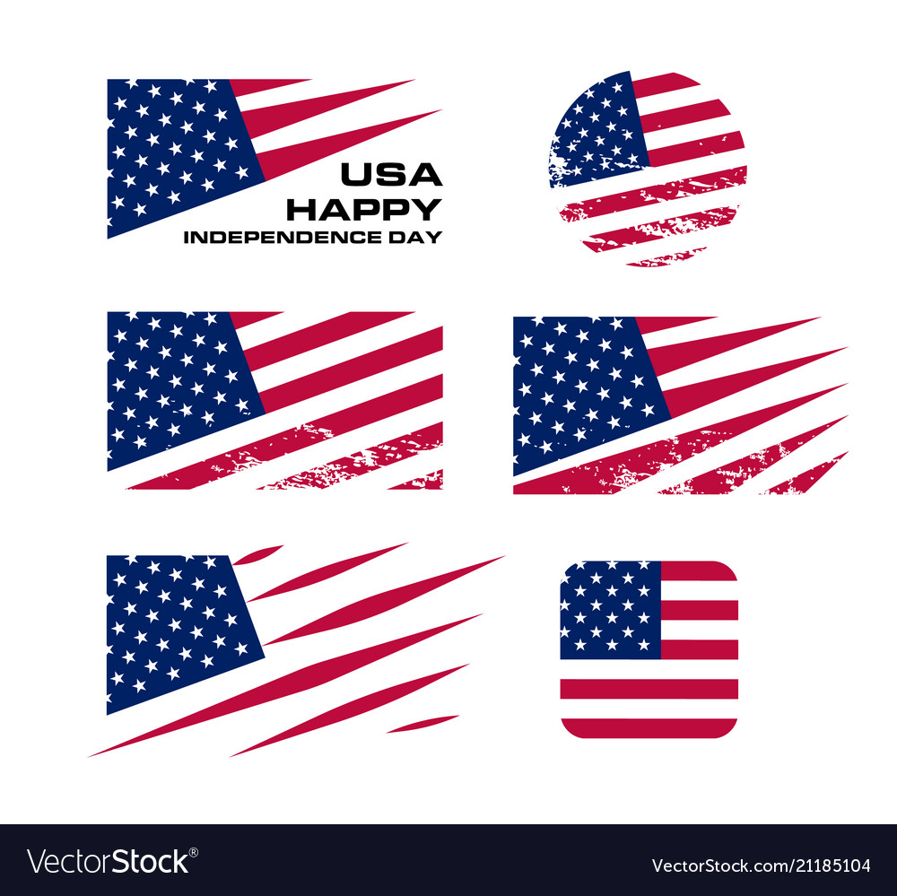 Usa flag set with scrapes on white background