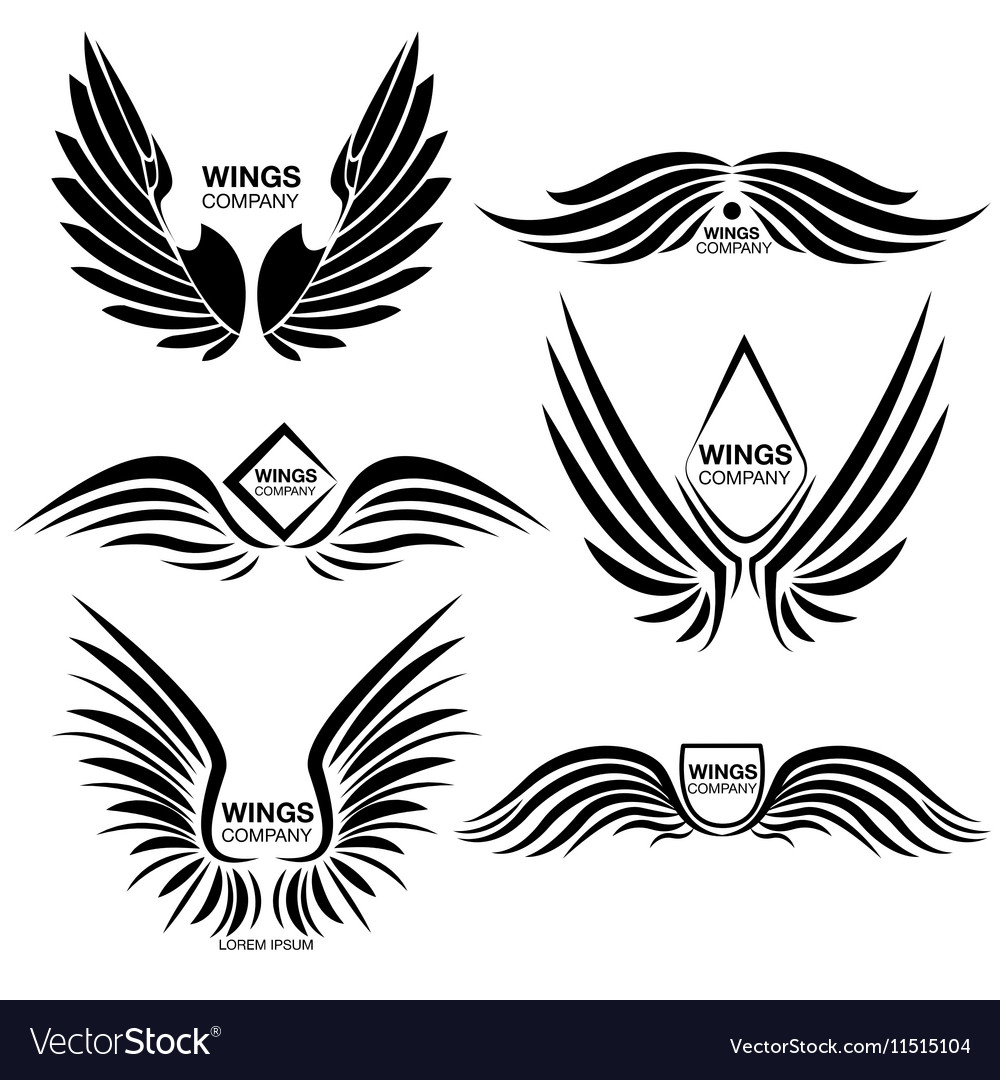 Wings Monochrome Logo Elements Set vector image